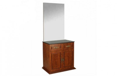 Functional hair salon barber station styling mirror with wooden cabinet