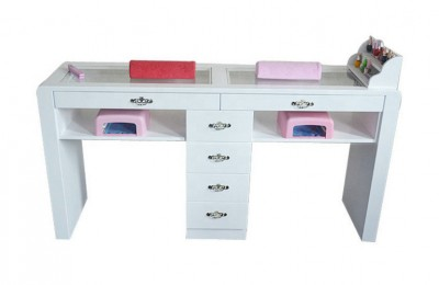 Double white nail desks manicure tables nail bar stations salon furniture