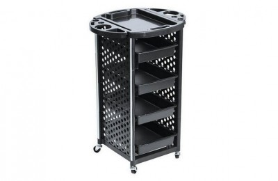 Cheap black plastic salon trolley storage cart with trays barber furniture