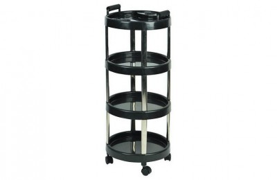 Workwell round plastic barber hairdressing equipment rolling storage tray cart beauty salon trolley