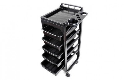 Black plastic design hairdressing tool carts salon trolley with trays barber equipment