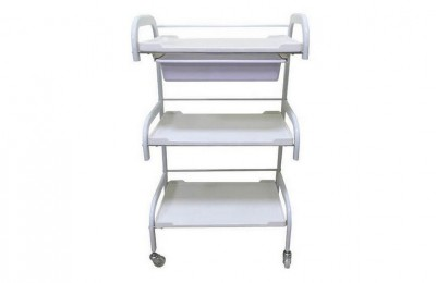 White Skin Care Utility Cart Beauty Manicure Rolling Storage Tray Cart Spa Pedicure Trolley
