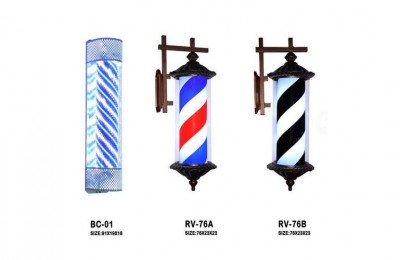 Barber Pole LED Light Classic Style Hair Salon Barber Shop Open Sign Spinning Red White Blue Stripe Light Sign Wall Mountable