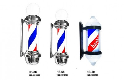 Barber Pole LED Globe Light Hair Salon Barber Shop Open Sign Rotating Red White Blue LED Strips