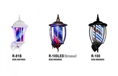 Barber Pole LED Light Porch Style Hair Salon Barber Shop Open Sign Rotating Red White Blue Spinning LED Strips