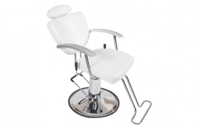 United Kingdom White Leather Unique Reclining Barber Shop Hydraulic Styling Chair