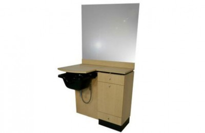 Barber Salon Cabinet Styling Station Hair Mirror Table