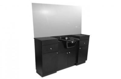 Hair salon counter styling mirror station with shampoo basin