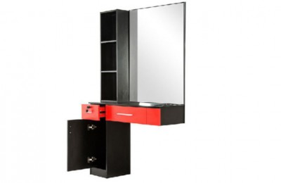 Wooden salon styling cabinet beauty single mirror makeup station