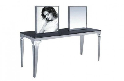 Stainless steel light makeup mirrors double sided styling salon stations