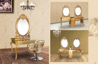 European Gold Bedroom Dresser Tables Styling Mirror Stations
