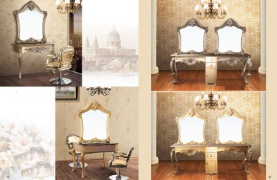 European Gold Hotel Dresser Styling Stations Salon Barber Mirror Table