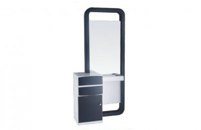 Cheap salon styling station makeup mirrors with cabinet