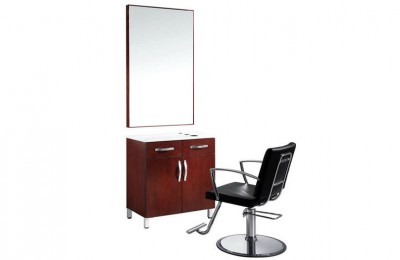 Aston styling station salon mirror with wood counter