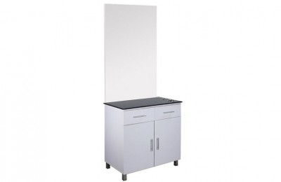 Aston styling station barber makeup mirror counter cabinets