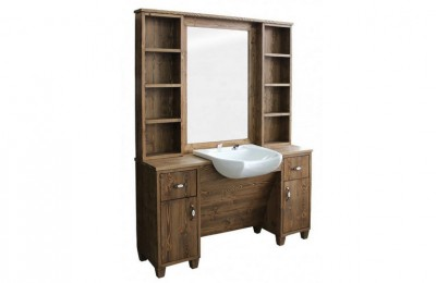Barber shop wood wet styling mirror station counter with bowl