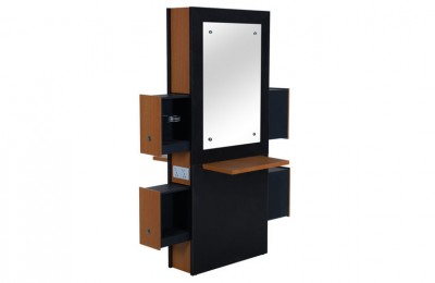 High Wood Barber Salon Cabinet Styling Mirror Station