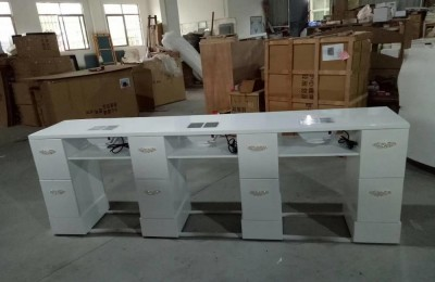 Modern glass white double manicure table nail desk bar station with dust collectors salon furnitures