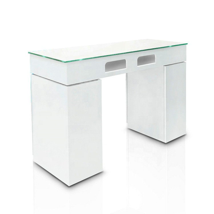 Customized Unique Salon Furniture Glass Nail Bar Tables