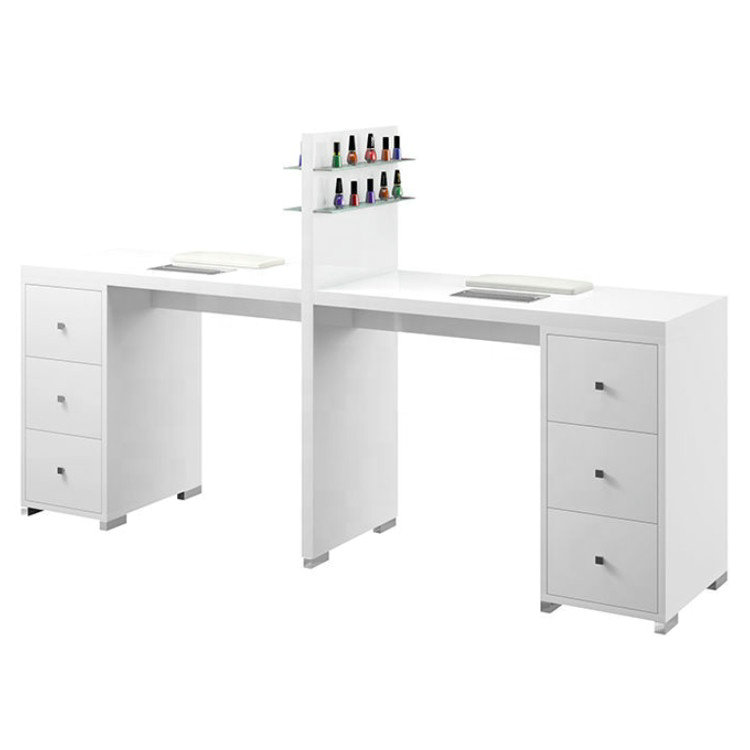 Double White Nail Desks Manicure Tables Nail Bar Stations