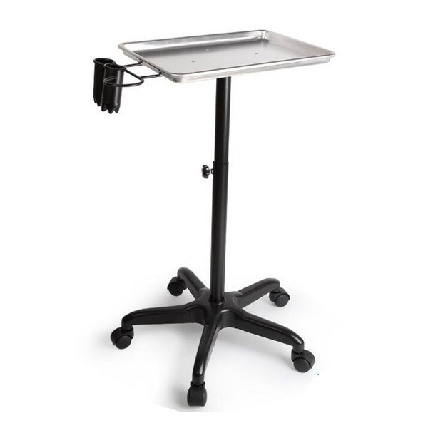 Adjustable Hair Color Mobile Salon Service Tray Barber Trolley with